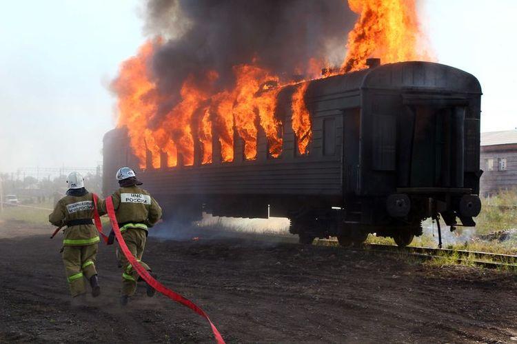 Тушение пожара на железной дороге
