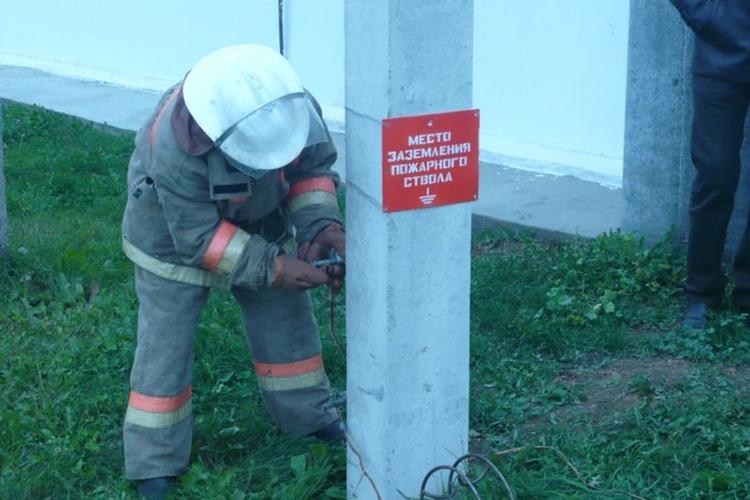 Размещение заземления для пожарных машин