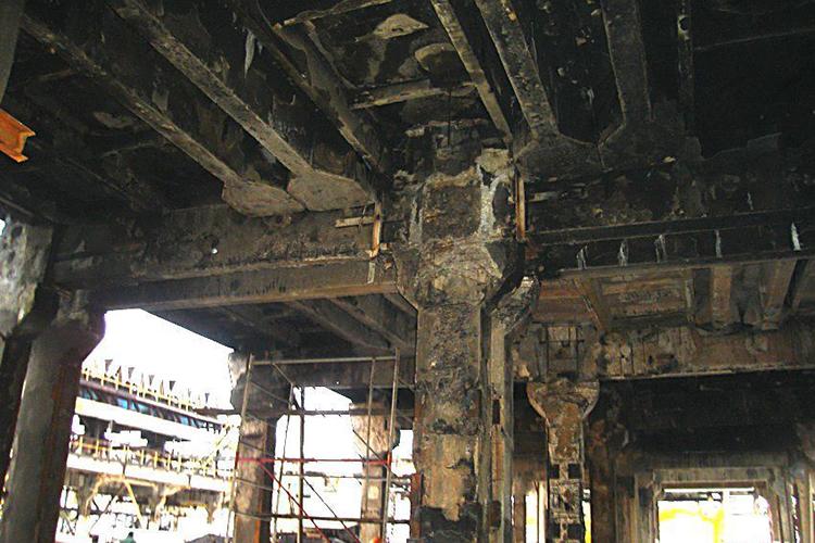 Разрушения во время пожара