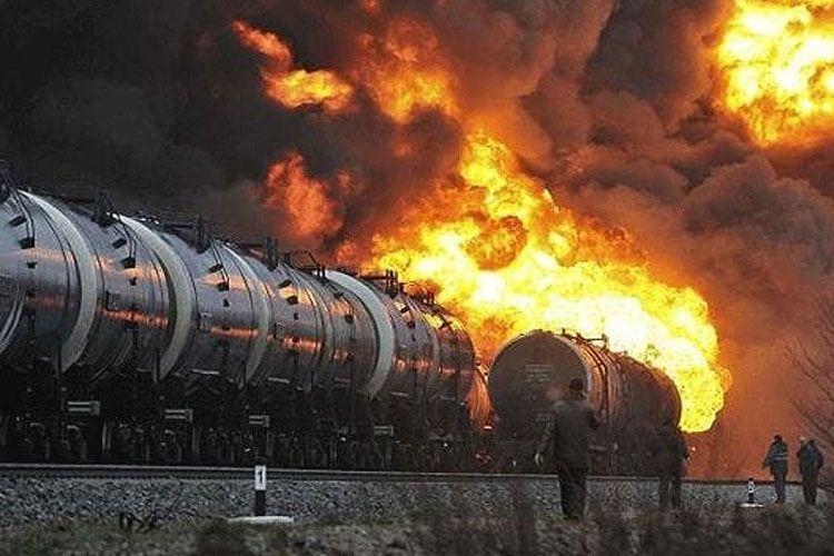 Пожар на грузовом поезде
