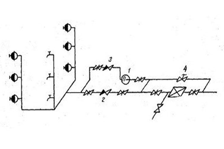 Схема водопроводной сети с насосом-повысителем