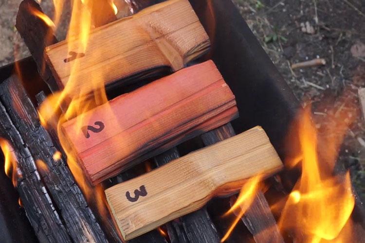 Испытание огнезащиты древесины